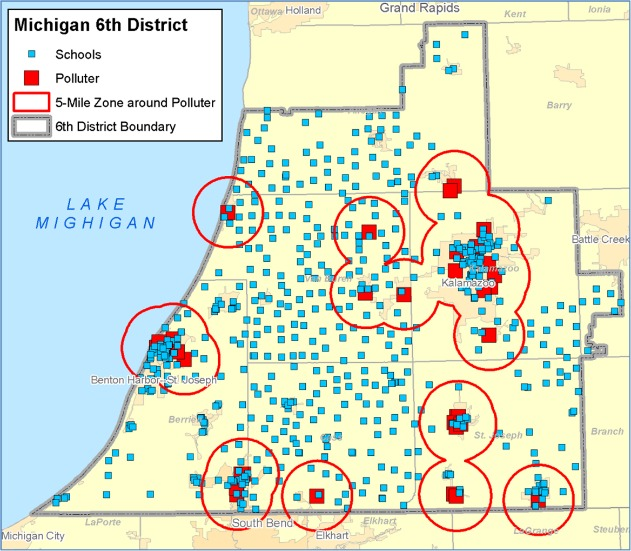 Upton's District, schools and polluters