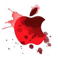red-splattered Apple logo