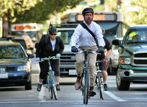 Bike commuters in San Jose