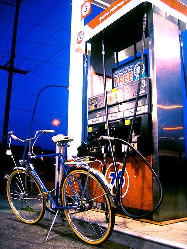 Bike at gas pump