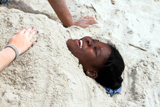 Kids having fun on the beach.