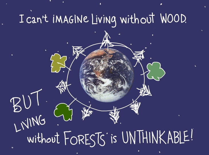 I can't imagine living without wood. But living without forests is unthinkable!