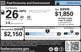 EPA vehicle label