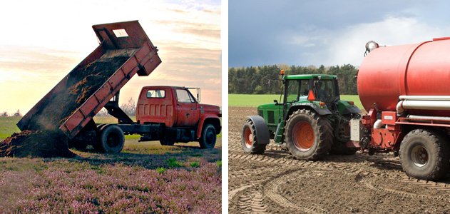 Manure truck and fertilizer tractor.