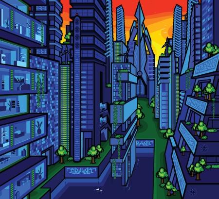 bright green city
