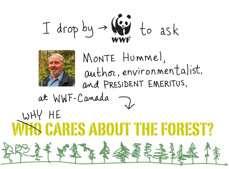 I drop by WWF to ask Monte Hummel why he cares about the forest.