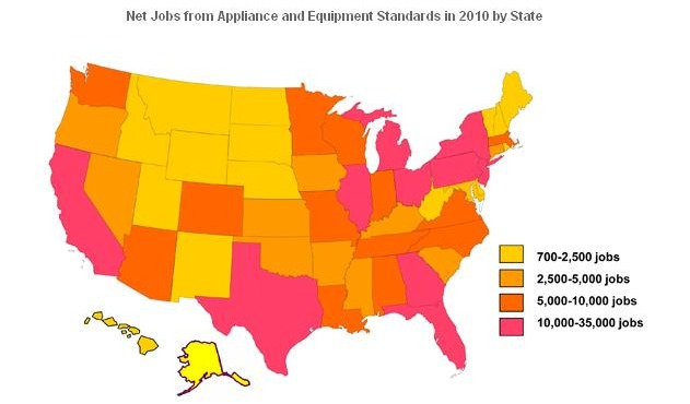 Net jobs from appliances and equipment standards in 2010 by state