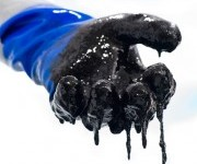 gloved hand covered in oil