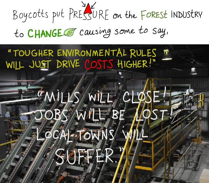 Shopping as activism? Boycotts put pressure on the forest industry to change causing some to say, 'Tougher environmental rules will just drive costs higher!' 'Mills will close! Jobs will be lost! Local towns will suffer.'