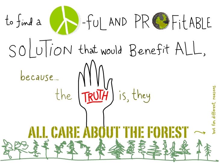 to find a peaceful and profitable solution that would benefit all, because the truth is, they all care about the forest.