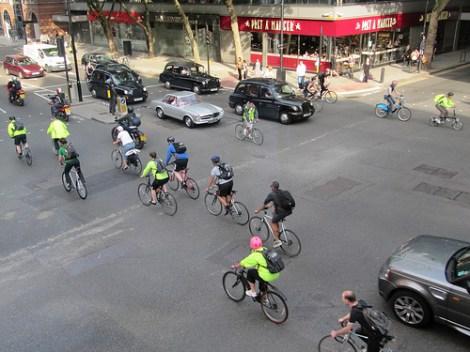 Bike commuters in London