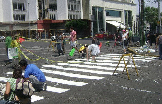 Crosswalk painting.