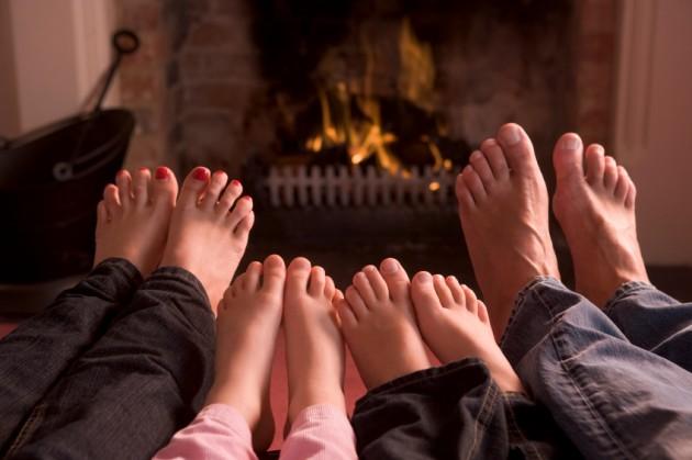 Warming feet.