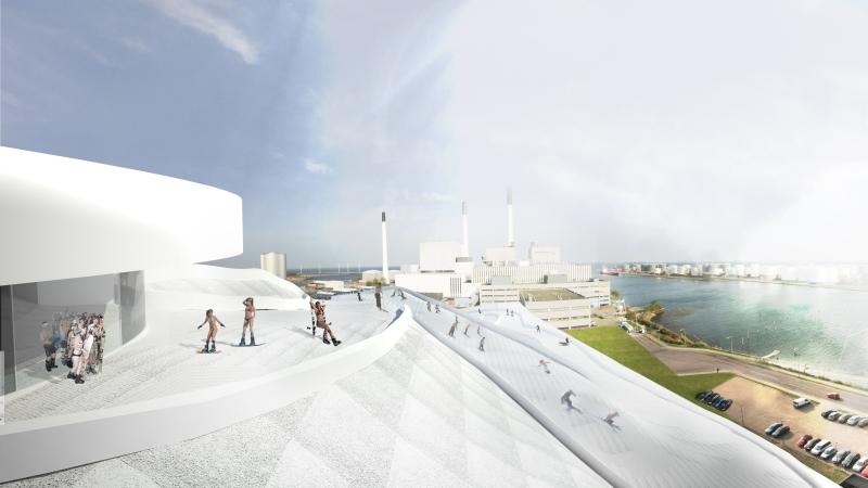 Amager Bakke waste-to-energy plant with ski slopes.