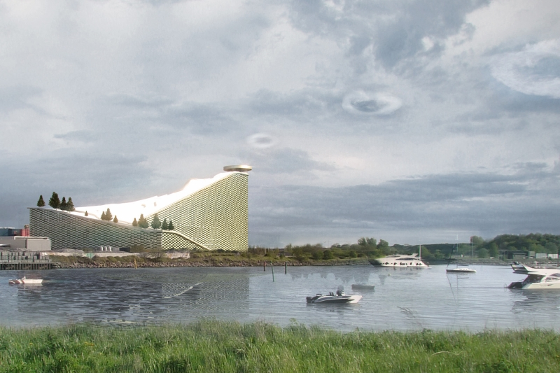 Amager Bakke waste-to-energy plant with smoke rings