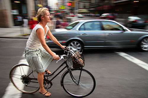 Woman on bike in NYC
