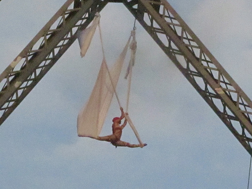 Aerialist on bridge