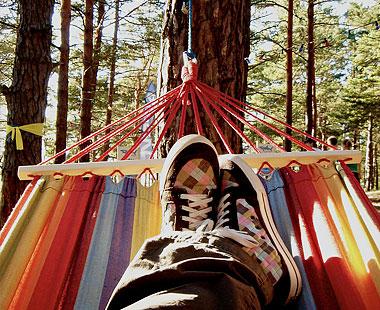 Feet in hammock.