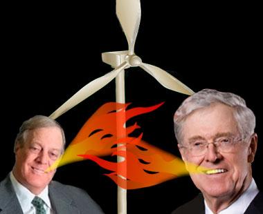 Koch bros. breathing fire on wind turbine