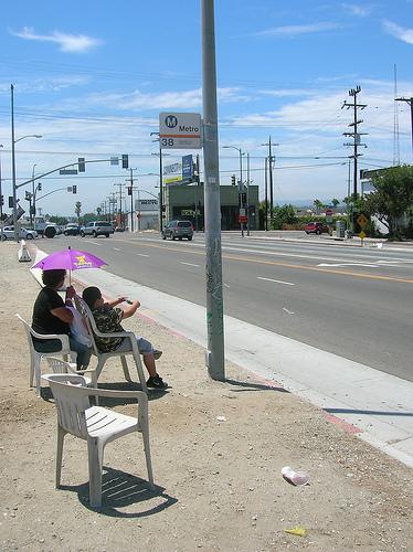 Waiting at an LA bus stop.