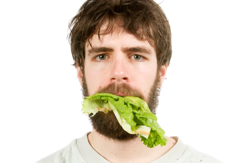 Mouthful of lettuce