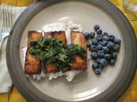 Tofu, rice, kale, berries