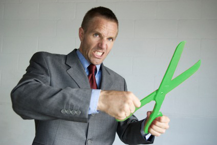 angry man with green scissors