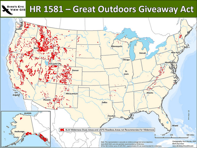 Map of lands affected by HR 1581