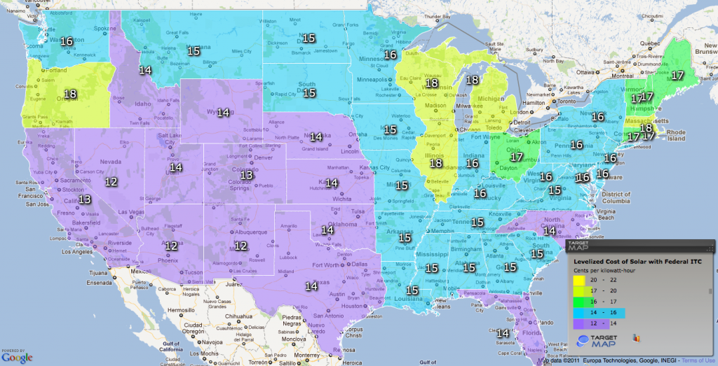 Map of state-by-state levelized cost of solar PV
