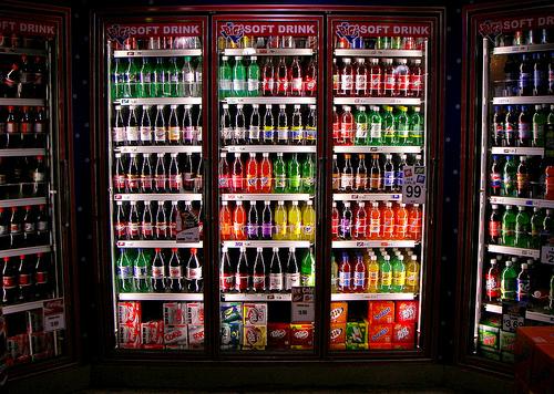 display case of soda