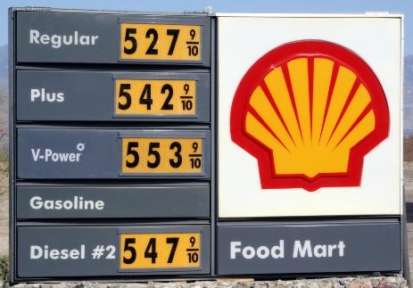 Gas sign, $5.27 regular.