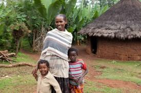 Aregash Ayele with two kids
