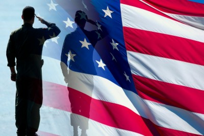 soldiers soluting flag