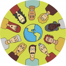 cartoon of people and planet