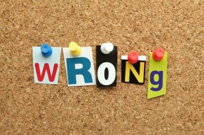 """wrong"" on bulletin board"
