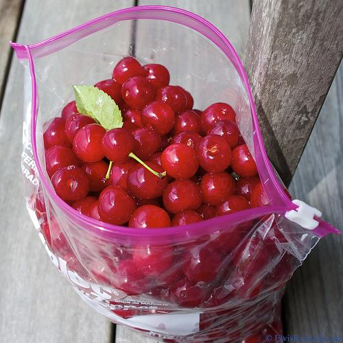 Cherries in a zip-lock bag.