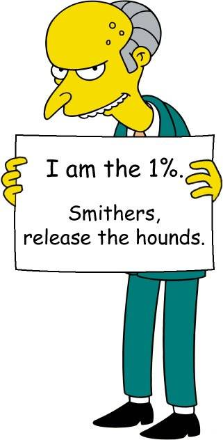 """Mr. Burns holding sign: """"I am the 1%. Smithers, release the hounds."""""""