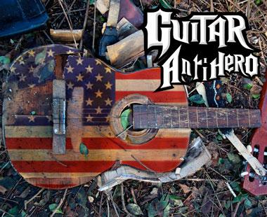 Smashed guitar.