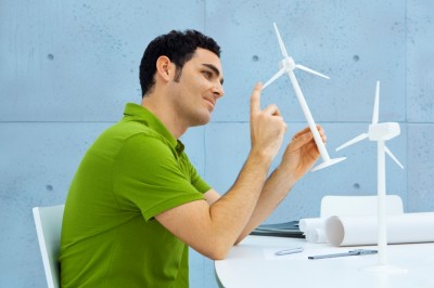 engineer with turbine model
