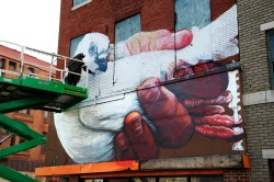 """The artist Gaia puts up the first installation in what he calls """"a museum for street art."""""""