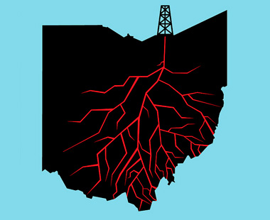 ohio map with fracking drill