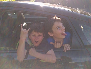 Dave's kids in the car