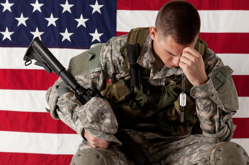 Soldier looking depressed