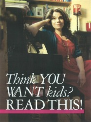 "Caitlin Moran and the text ""Think you want kids? Read this!"""