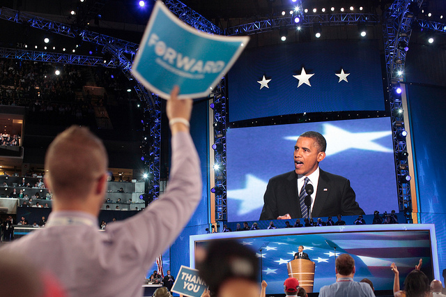 Obama in convention hall