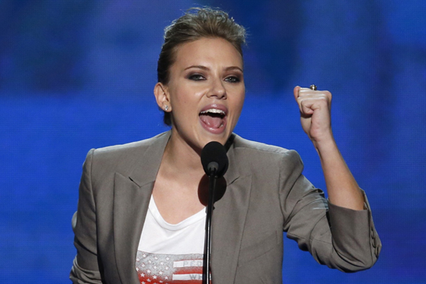 Scarlett Johansson addresses the final session of the Democratic National Convention. Photo by Reuters / Jason Reed.