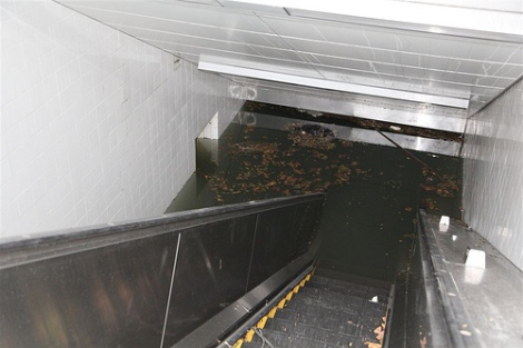 south ferry stop flooded