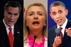 Mitt Romney, Hillary Clinton, and President Barack Obama