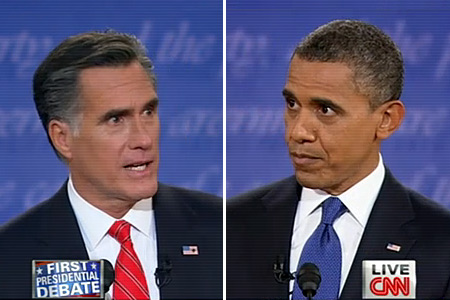 President Obama and Mitt Romney in the first of three presidential debates.