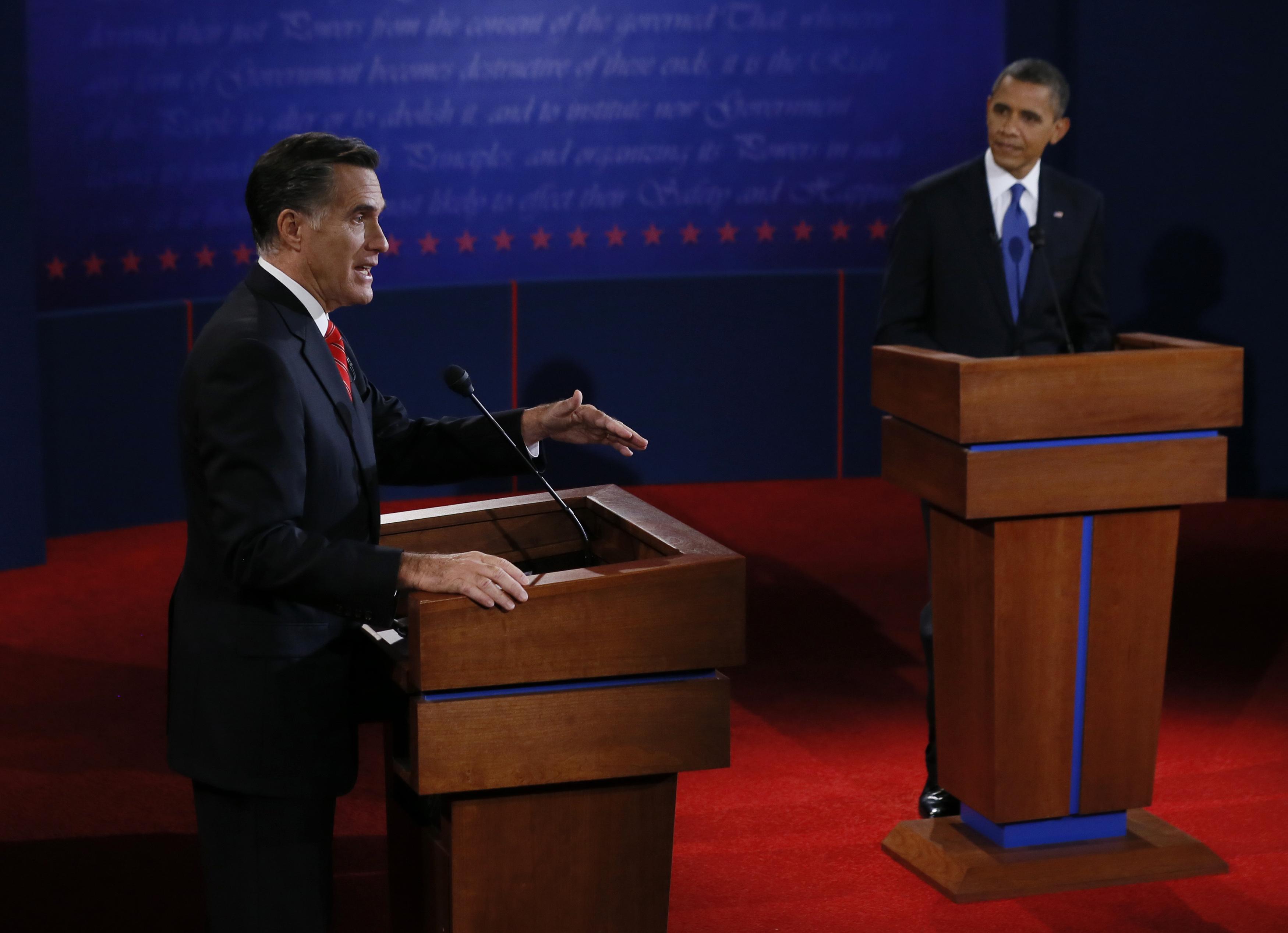 Romney and Obama at Denver debate